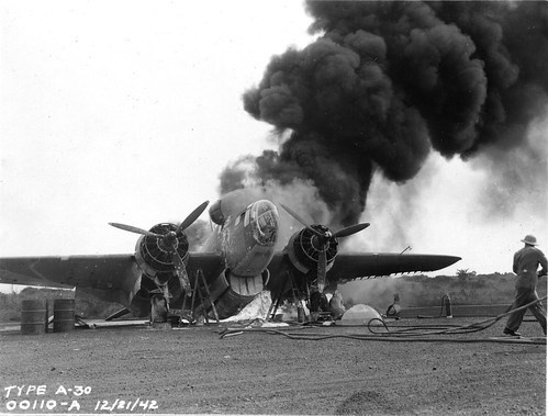 Martin 187 Baltimore attack-bomber in flames during World War II in Africa