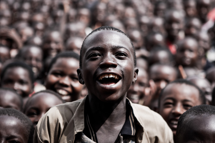 A young boy at the opening ceremony of a school in rural Burundi, Africa (2008).