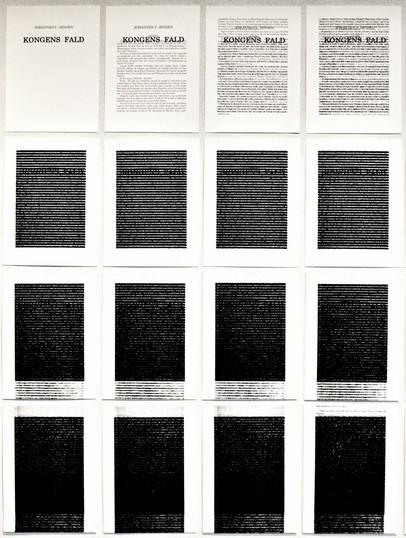 Johannes V. Jensens roman genskrevet på computer med udgangspunkt i et ældre satsbillede. De 207 sider er printet oven i hinanden. I alt 21.528 gange, ½n(n+1)  (10 x 1 m, 2017)
