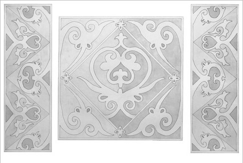 Орнаментальная композиция по мотивам Киевской Руси, отмывка, 40х60, Елизавета Егорова