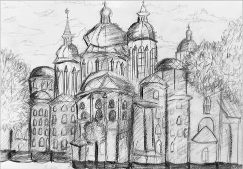 Пленэр, уголь, 20х30, Евгения Лысенко