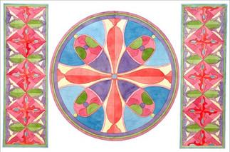 Орнаментальная композиция по мотивам Киевской Руси, полихромия, 40х60, Стефания Романова
