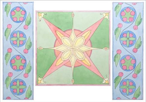 Орнаментальная композиция по мотивам Киевской Руси, полихромия, 50х70, Екатерина Присяженко