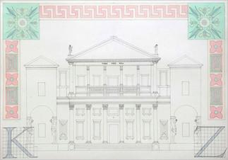 Проектное решение фасада. Орнаментальные композиции. По мотивам периода Эклектика (конец ХІХ века), полихромия, 50х70, Даниил Зинкевич, 2020 год