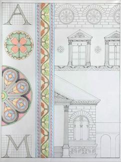 Проектное решение фасада. Орнаментальные композиции. По мотивам периода Эклектика (конец ХІХ века), полихромия, 50х70, Анна-Мария Онищук, 2020 год