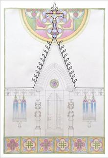 Проектное решение входной группы. Орнаментальные композиции. По мотивам периода Эклектика (конец ХІХ века), полихромия, 70х50, Елизавета Егорова, 2020 год