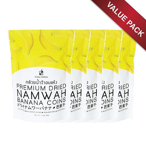 x5 VALUE PACK OF Premium Dried Namwa Bananas 50g