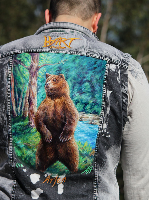 Custom vest, painted vest, bear vest,