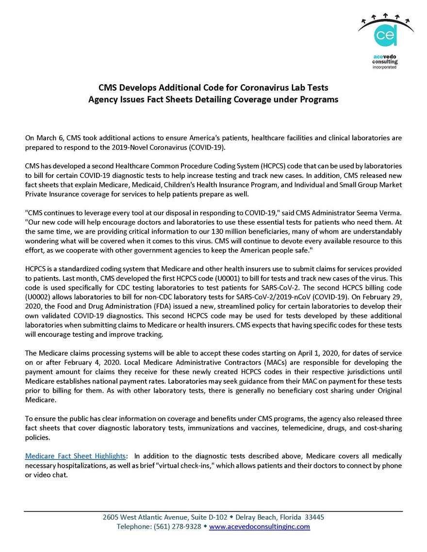 CMS Develops Additional Code for Coronav