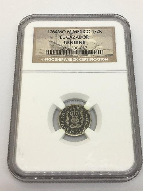 Shipwreck Coins 1764 MO M MEXICO EL CAZADOR 1/2 R NGC # 3731300-057
