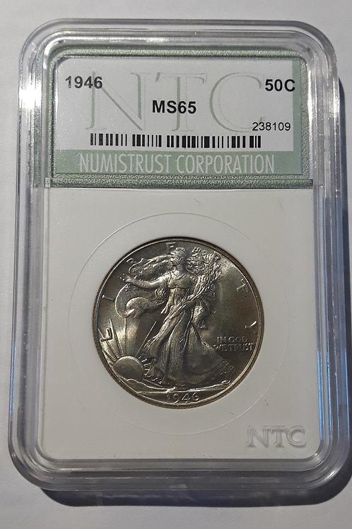 US Coins 1946 50C, 50 Cents US Walking Liberty Half Dollar NTC#238109 Grade MS65