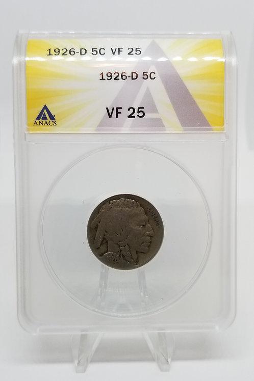 US Coins 1926-D 5C, 5 Cents Buffalo ANACS#7281103 Grade VF 25