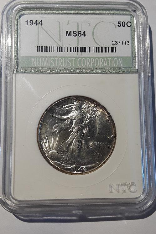 US Coins 1944 50C, 50 Cents US Walking Liberty Half Dollar NTC#237113 Grade MS64