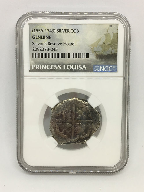 Shipwreck Coins (1556-1743) SILVER COB - SALVOR'S RESERVE HOARD, PRINCESS LOUISA