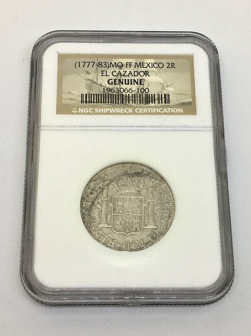 Shipwreck Coins (1777-83) MO FF MEXICO EL CAZADOR 2R NGC # 1963066-100