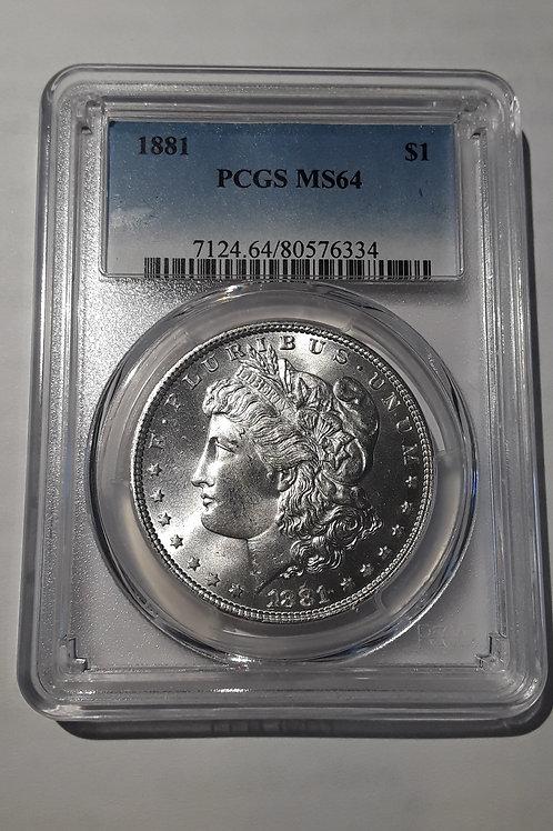 US Coins 1881 $1, 1 Dollar Morgan Silver Dollar PCGS#80576334 Grade MS 64
