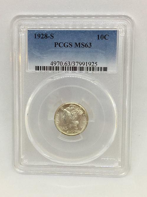 US Coins 1928-S 10C, 10 Cents PCGS#37991925 Grade MS63