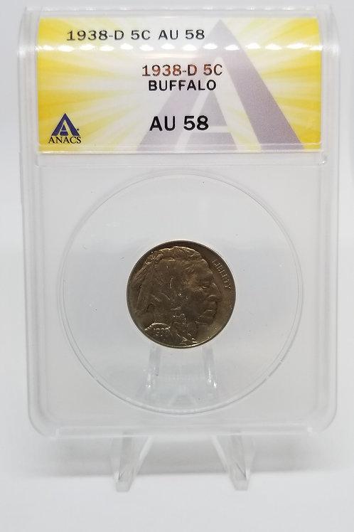 US Coins 1938-D 5C, 5 Cents Buffalo ANACS#7281114 Grade AU 58