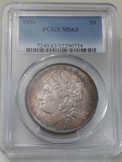 US Coins 1896 $1, 1 Dollar Peripheral toning PCGS#32290734 Grade MS63