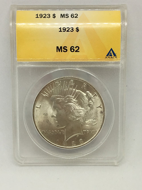 US Coins 1923 $1, 1 Dollar Type: Peace ANACS#4830768 Grade MS 62