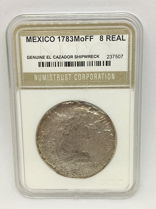 Shipwreck Coins Mexico-El Cazador 1783 Mo FF 8 Reales NTC # 237507 Grade Genuine