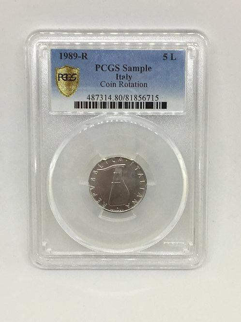 World Coins Italy 1989-R ITALY 5 L SAMPLE - COIN ROTATION PCGS # 81856715