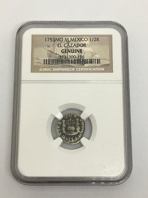 Shipwreck Coins 1753 MO M MEXICO EL CAZADOR 1/2 R NGC # 3731300-156