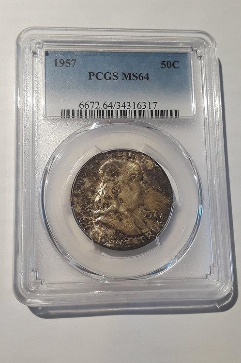 US Coins 1957 50C, 50 Cents Franklin Half Dollar PCGS#34316317 Grade MS 64