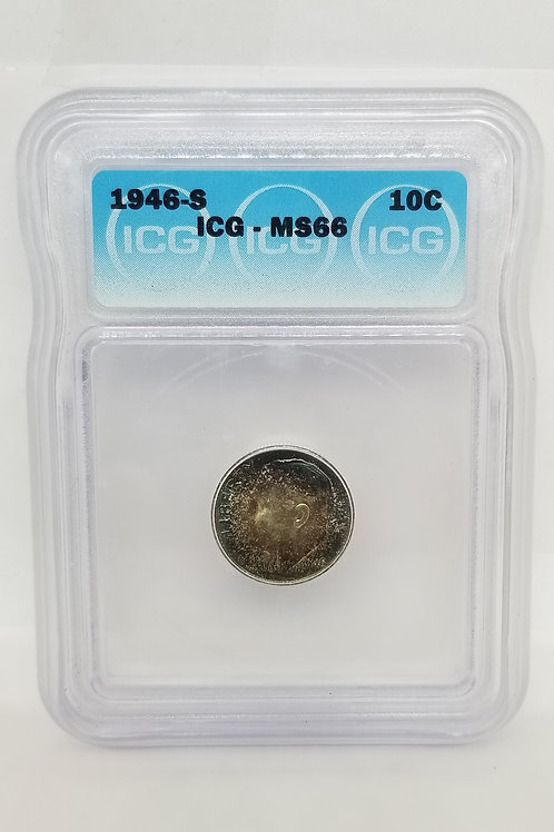 US Coins 1946-S 10C, 10 Cents ICG#2959783201 Grade MS 66