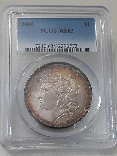 US Coins 1896 $1, 1 Dollar Peripheral toning PCGS#32290773 Grade MS63