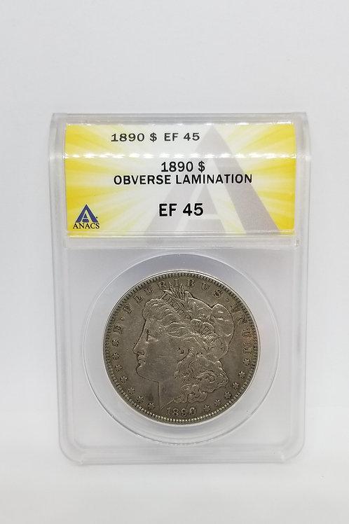US Coins 1890 $1, 1 Dollar Morgan Silver Dollar Obverse Lamination ANACS#6276190