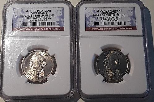 US Coins 2007 $1 Dollar Set of 2 coins - Second President John Adams