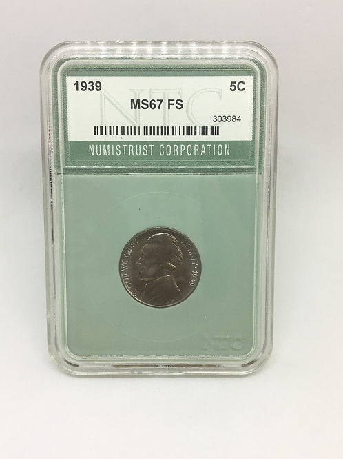 US Coins 1939 5C, 5 Cents NTC#303984 Grade MS67 FS
