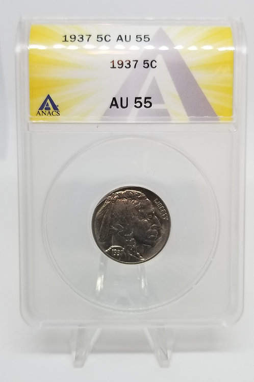 US Coins 1937 5C, 5 Cents Buffalo ANACS#7281110 Grade AU 55