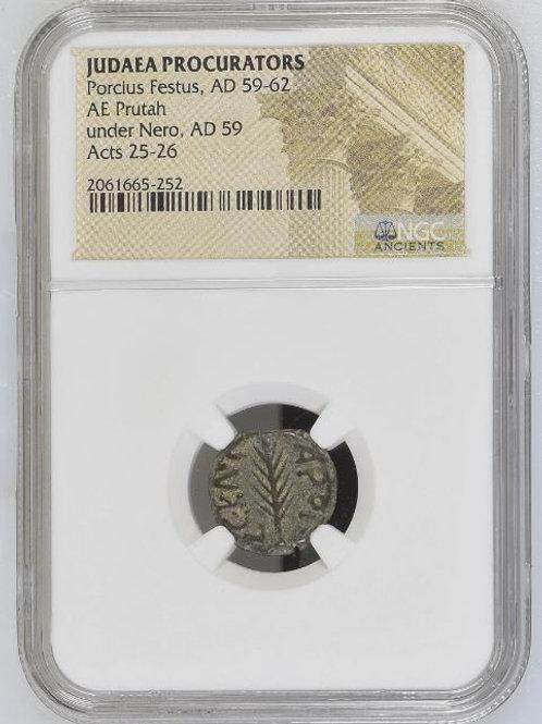 Ancient Coins Judaea Procurators Porcius Festus, AD 59-62 AE NGC # 2061665-252