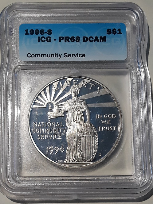 US Coins 1996-S $1, 1 Dollar Community Service ICG#1870556901 Grade PR68 DCAM