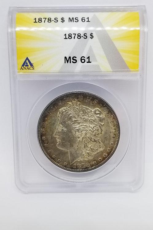 US Coins 1878-S $1, 1 Dollar Morgan Silver Dollar ANACS#5358719 Grade MS 61