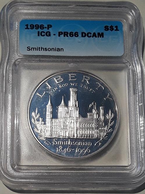 US Coins 1996-P $1, 1 Dollar Smithsonian ICG#1870556201 Grade PR66 DCAM