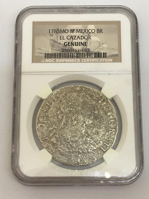 Shipwreck Coins 1783MO FF MEXICO 8R EL CAZADOR NGC # 3500761-150 Grade Genuine