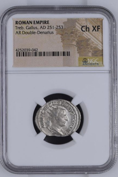Ancient Coins Roman Empire Treb. Gallus, AD 251-253 NGC#4252039-042 Grade Ch XF