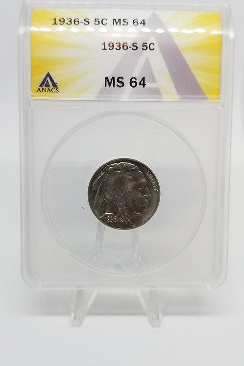 US Coins 1936-S 5C, 5 Cents Buffalo ANACS#7281108 Grade MS 64
