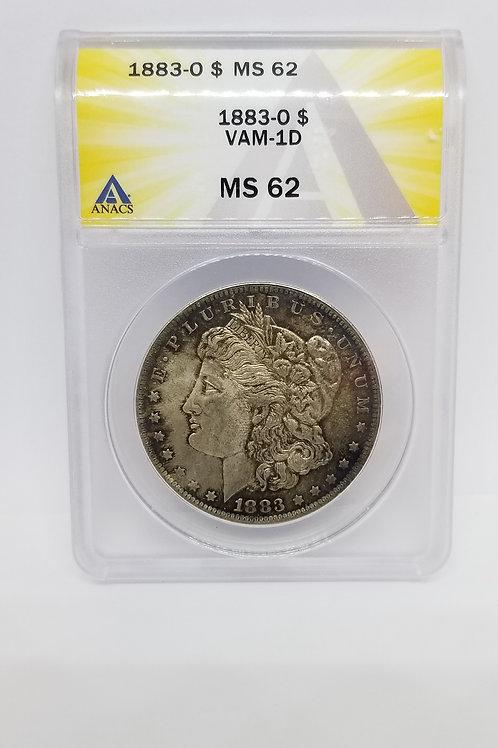 US Coins 1883-O 1 Dollar Morgan Silver Dollar, VAM-1D, Die Gouge Wing R-6