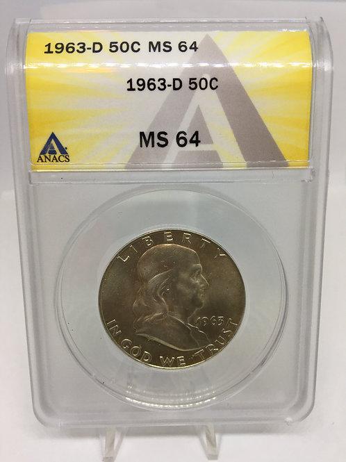 US Coins 1963-D 50C, 50 Cents Franklin Half Dollar ANACS#6276213 Grade MS 64