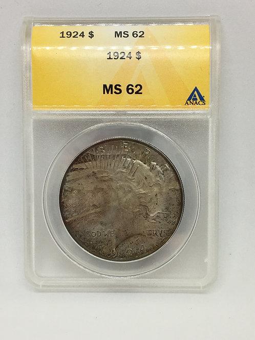 US Coins 1924 $1, 1 Dollar Toning Type: Peace ANACS#4737614 Grade MS 62