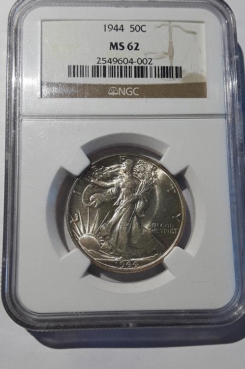 US Coins 1944 50C, 50 Cents US Walking Liberty Half Dollar NGC#2549604-002