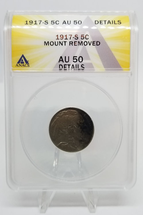 US Coins 1917-S 5 Cents Buffalo Mount Removed ANACS#7281099 Grade AU 50 Details
