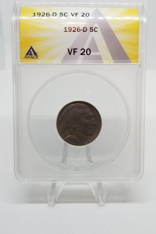 US Coins 1926-D 5C, 5 Cents Buffalo ANACS#7281105 Grade VF 20