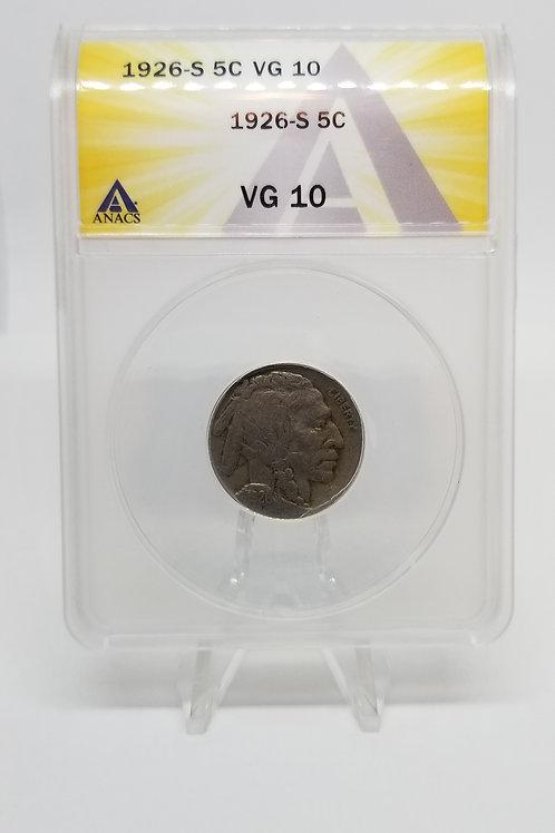 US Coins 1926-S 5C, 5 Cents Buffalo ANACS#7281106 Grade VG 10