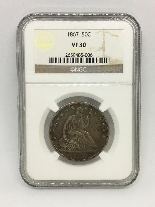 US Coins 1867 50C, 50 Cents Half Dollar NGC#2659485-006 Grade VF 30