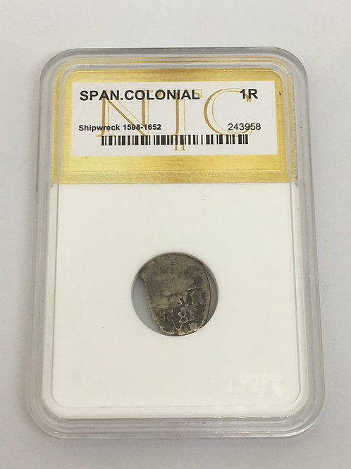Shipwreck Coins Spanish Colonial 1598-1652 1 Real - White Insert NTC # 243958